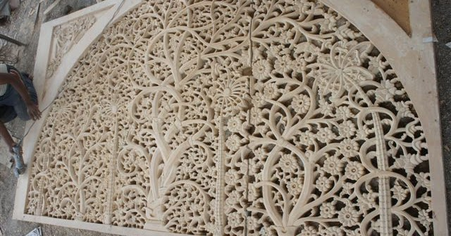 Dholpur Stone Elevation : Sandstone hand carving works sidi sayed ki jali ahmedabad