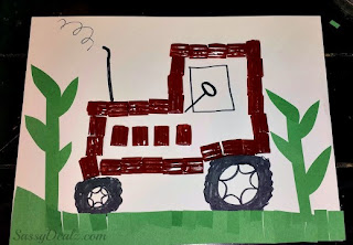 red twizzler tractor art project for kids