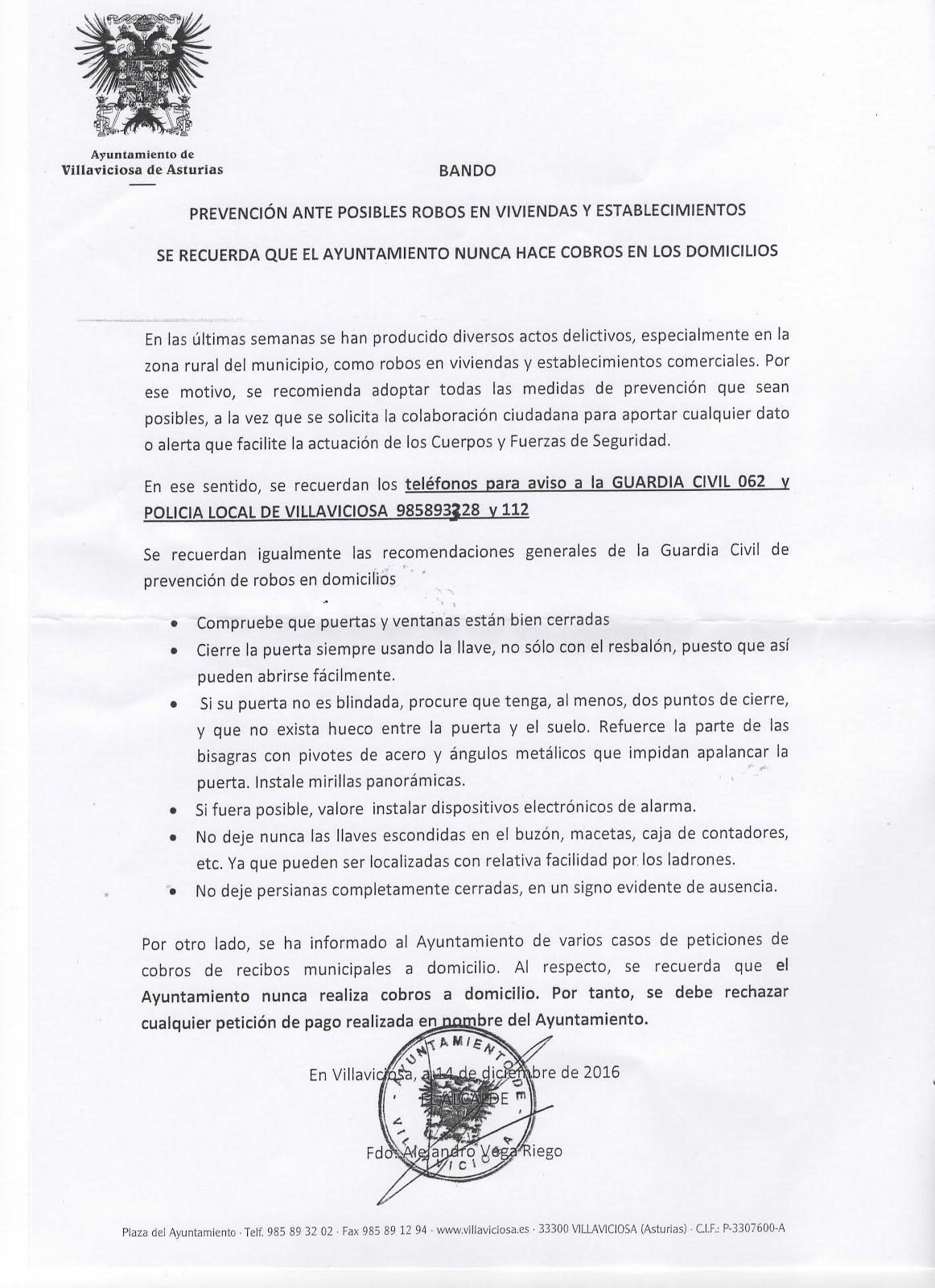 BANDO PREVENCIÓN DE ROBOS