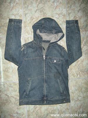 Áo khoác jean có nón màu xanh đậm