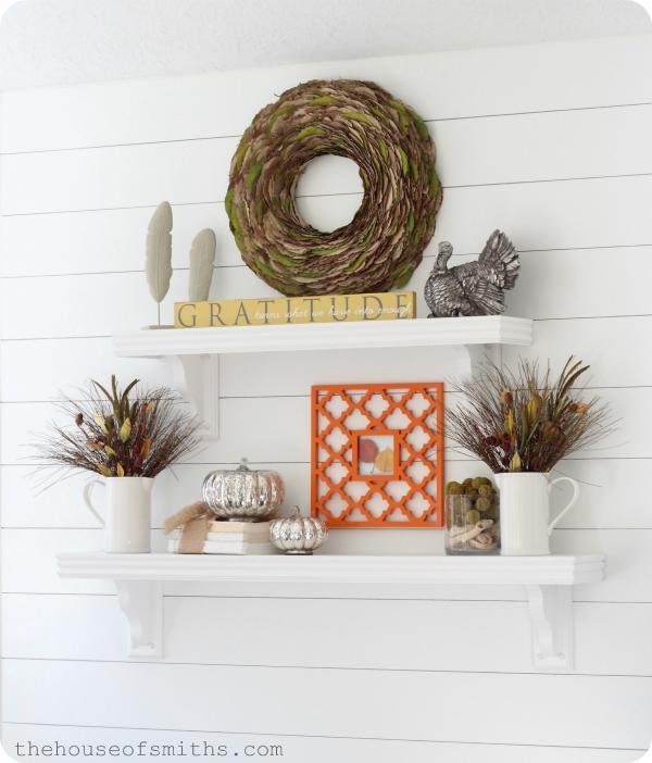 thanksgiving shelf decor 2012 creative fall ideas linky party - Shelf Decor