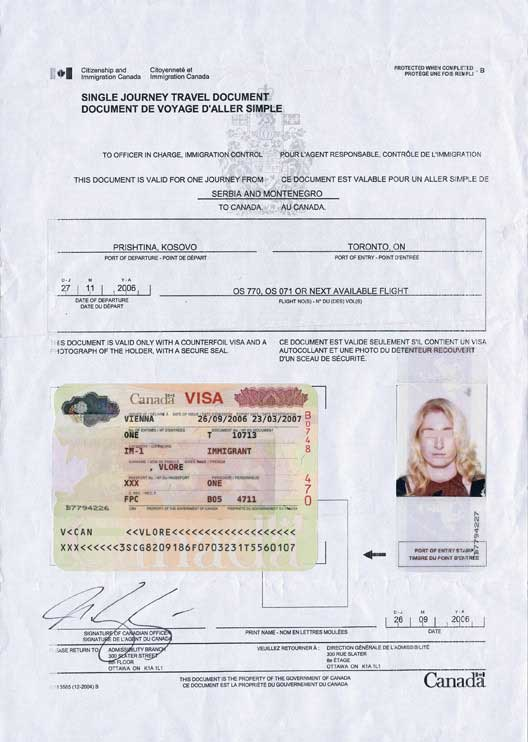 travelling documents permanent resident card