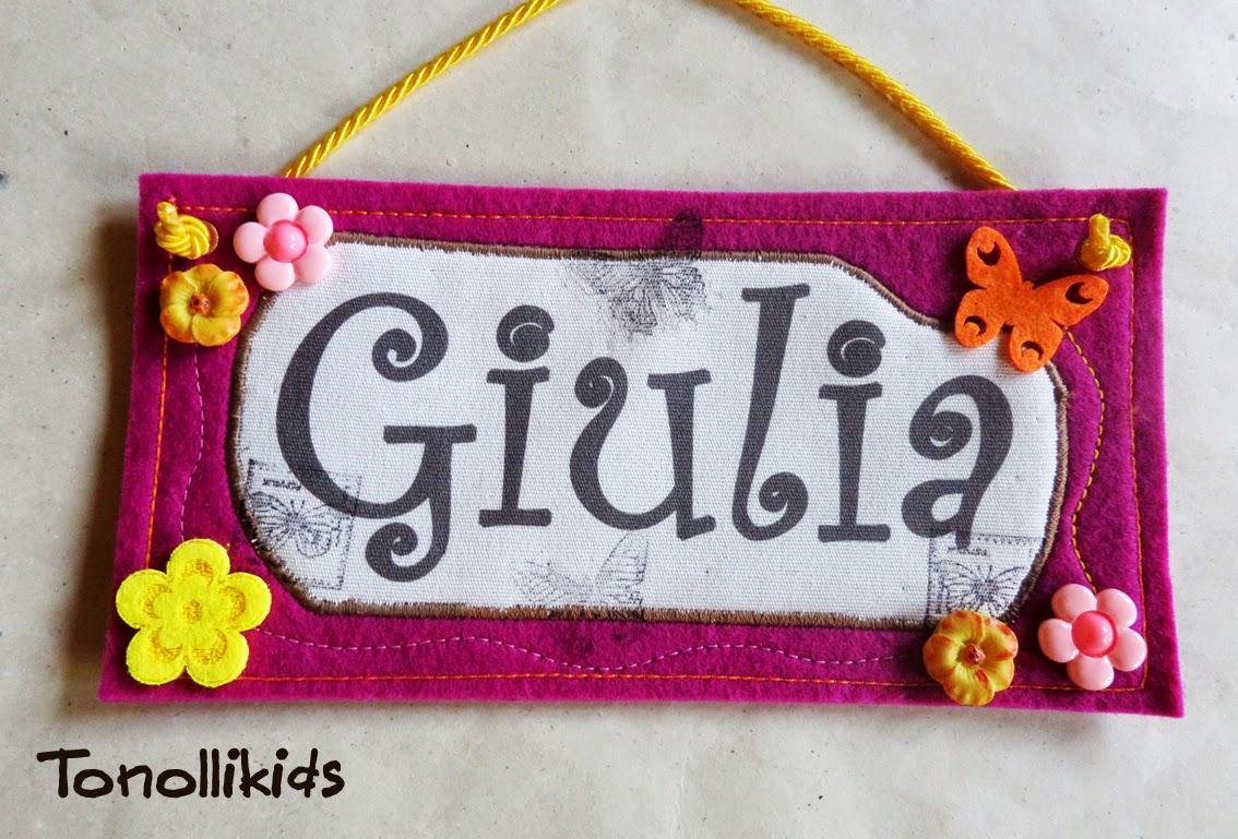 tonolli decorations for kids: Targa in feltro con nome