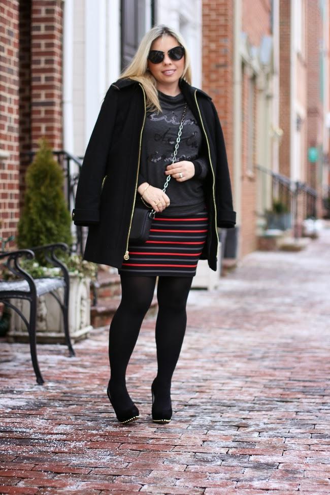 Rachel Roy Striped Mini Skirt