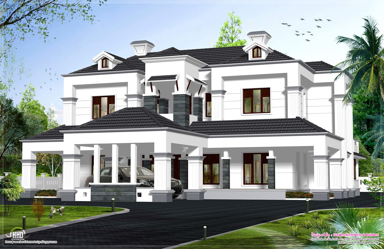 Victorian model house exterior kerala home design and for Model house design with floor plan