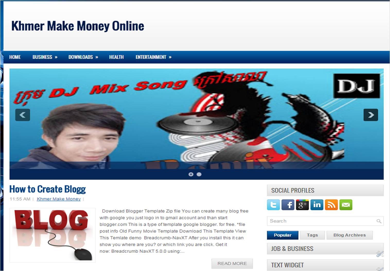 Blogger Template Free Download ~ Khmer Make Money Online