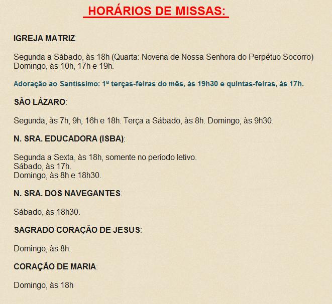 Horário de Missas