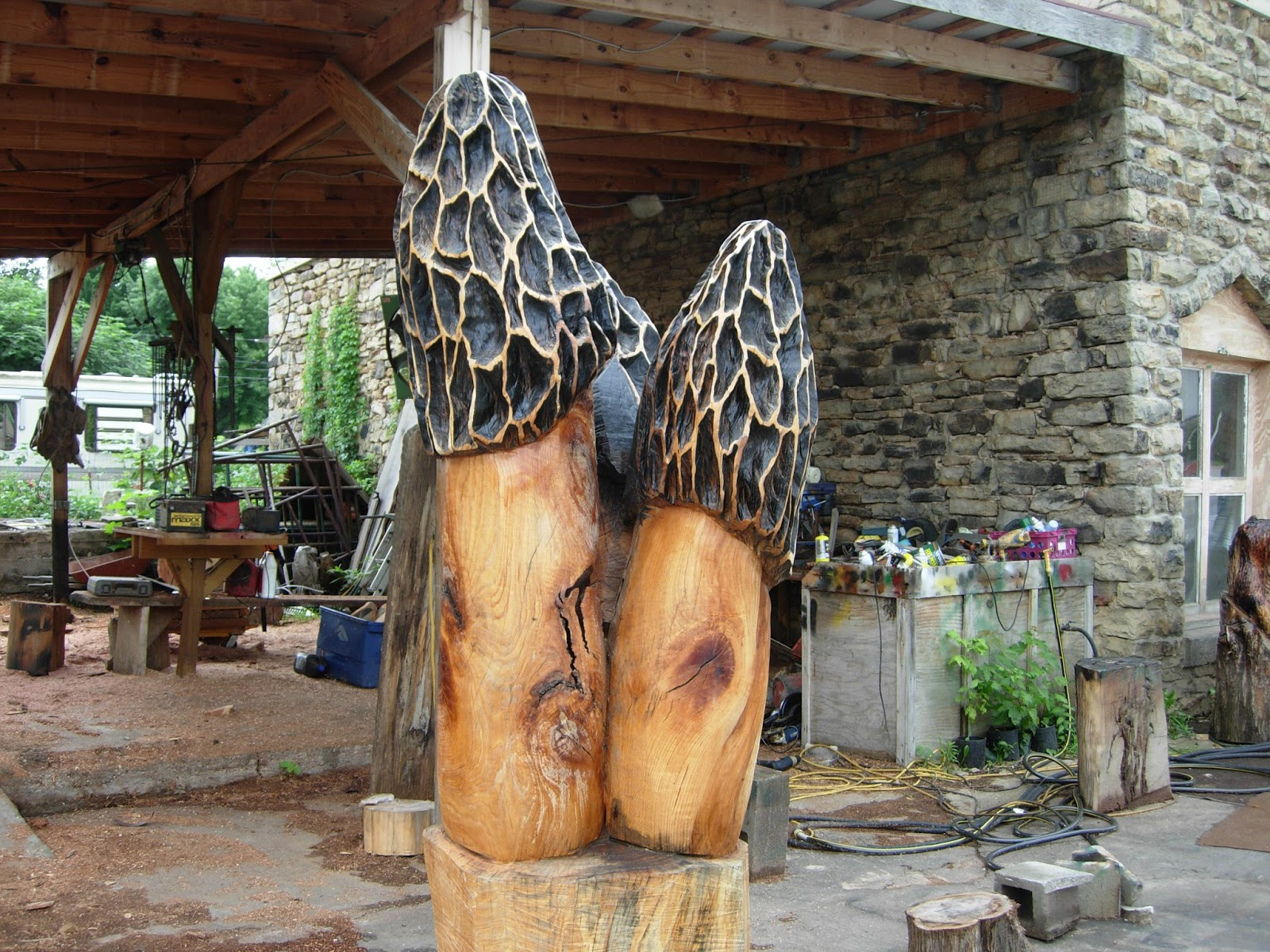 Garden seating stool carved with chainsaw wood actually