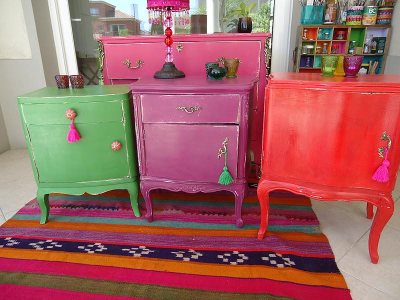 Vintouch muebles reciclados pintados a mano mesas de - Muebles pintados de colores ...