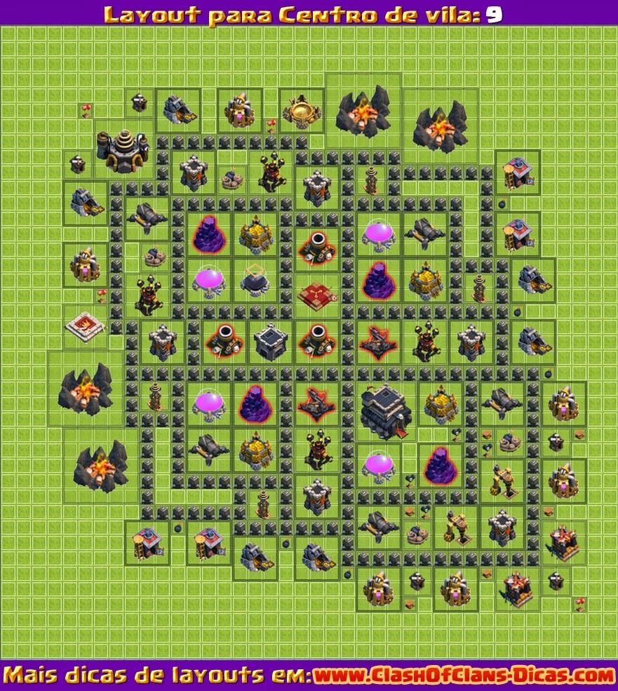 Melhores Layouts para Clash of Clans: Centro de Vila Nível 9