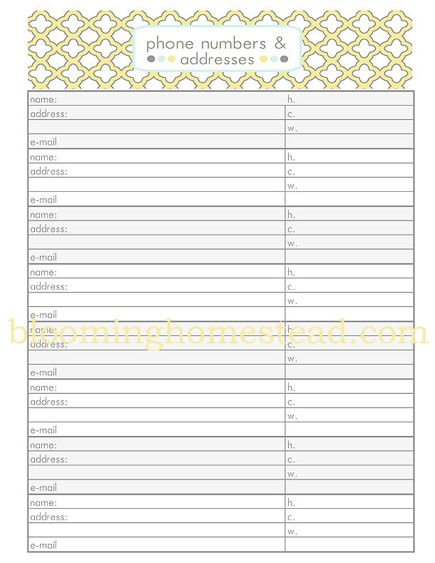 Contact Sheet Phone Numbers Addresses free printable Blooming