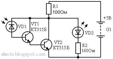Схема простого фотореле на транзисторах
