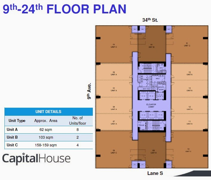 Typical Floor Plan of Capital House New Office Building in Bonifacio Global City