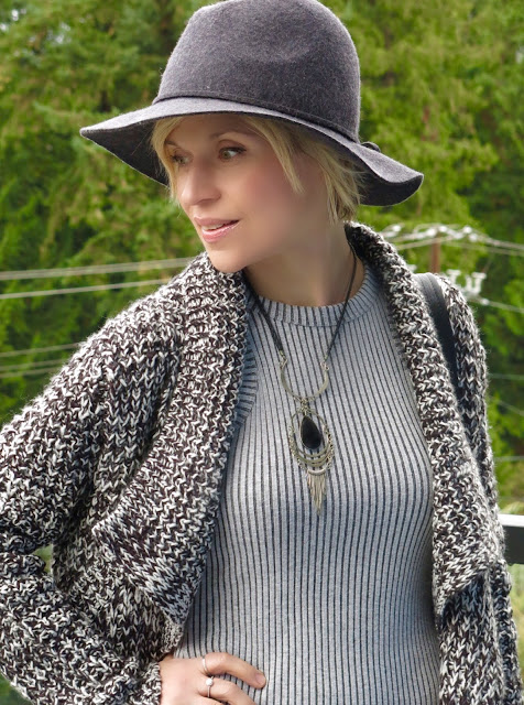 sweater coat, tank dress, and floppy hat