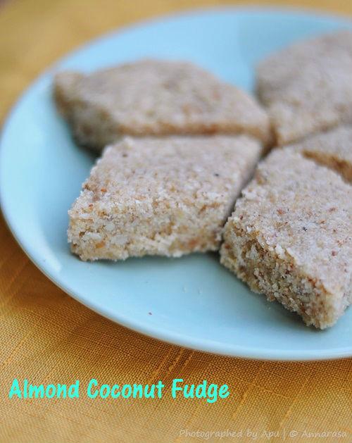 Badam Nariyal aur Rava ki Barfi   Melt in the Mouth Almond Coconut Fudge