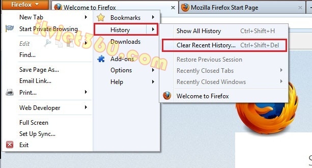 Clear history Firefox