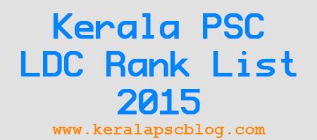 Kerala PSC Lower Division Clerk (LDC) Rank List 2015