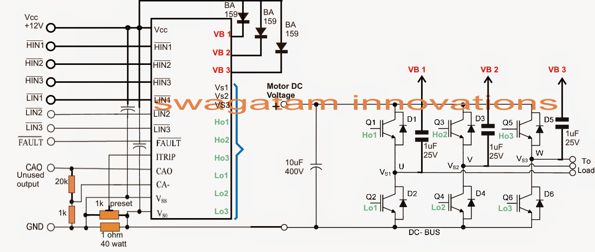 3 phase vfd circuit electronic circuit projects 3 phase vfd circuit