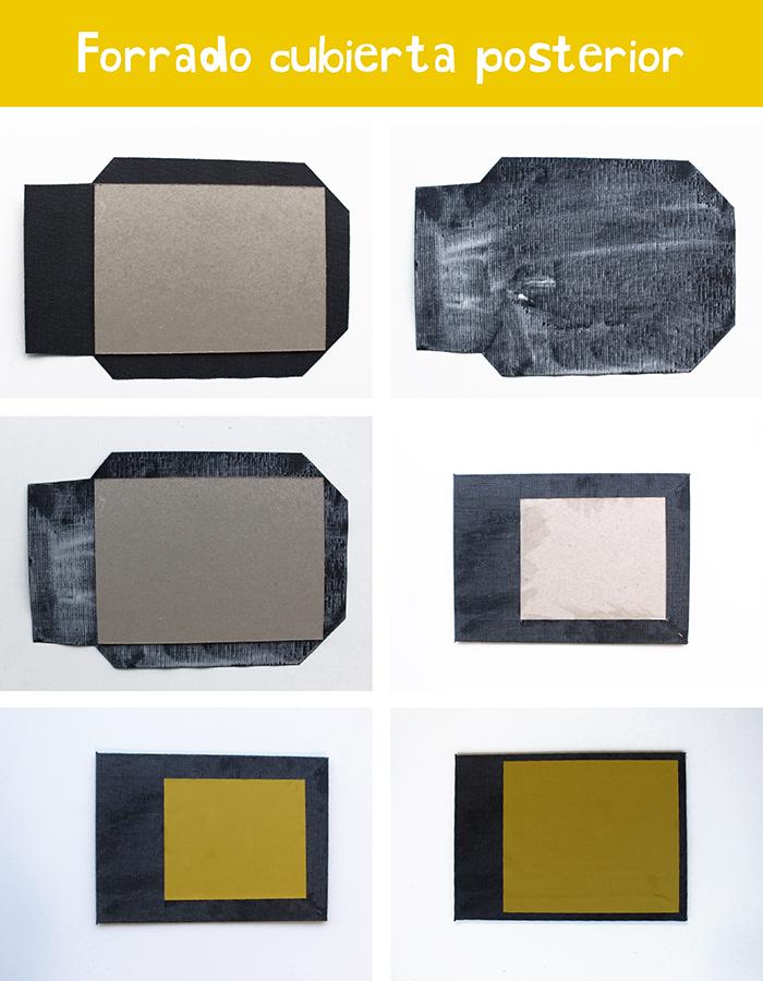encuadernación japonesa DIY: forrado cubierta posterior