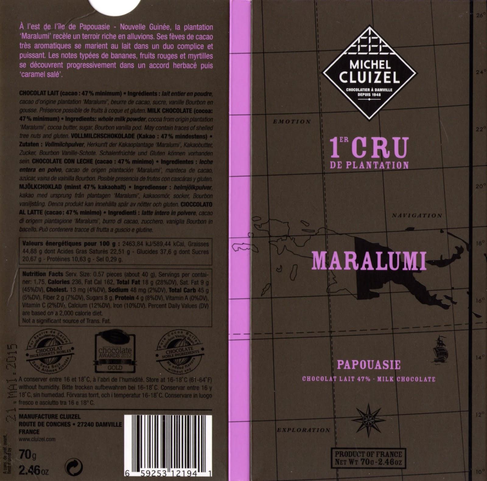 tablette de chocolat lait dégustation michel cluizel lait 1er cru de plantation maralumi