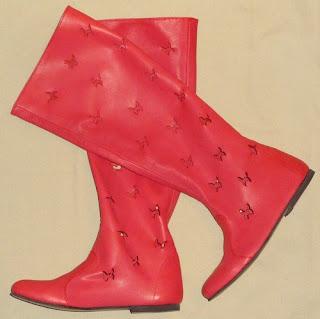 cizme de vara rosii perforate din piele naturala