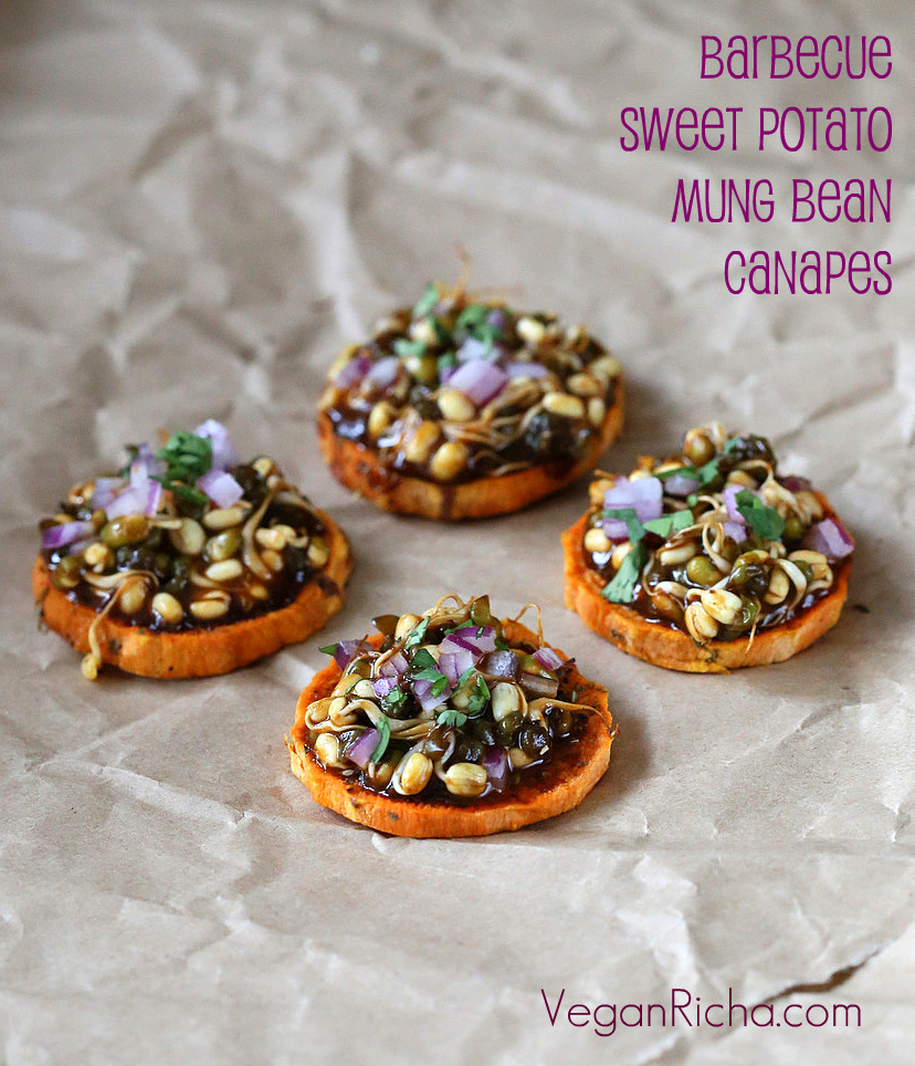 Sweet potato canapes with barbecue mung bean sprouts for Gluten free canape