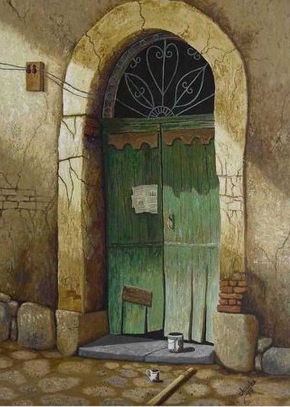 Cuadros al oleo pueblos pintura realista pintura paisaje for Puertas antiguas de derribo
