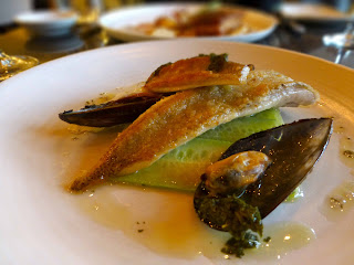 Crumbed sea bream, cucumber and smoked mussels