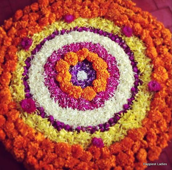 flower rangoli for deepawali