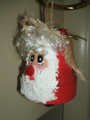 Santa clay pot chime ornaments 1