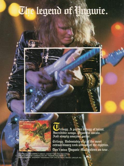 Cartel promocional de yngwie en el tour de Trilogy en 1986