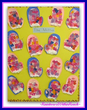 "photo of: Winter Bulletin Board for ""The Mitten"" (Bulletin Board RoundUP via RainbowsWithinReach)"