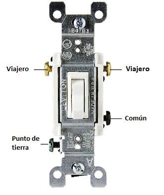 Partes de un interruptor de tres vías