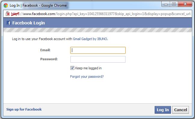 Sau khi đăng nhập facebook một cửa sổ xác nhận sẽ