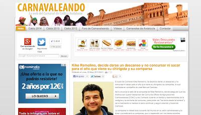 Carnavaleando. Web dedicada al Carnaval de Cádiz y a los Carnavales de Andalucía.