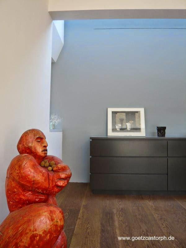 Vista de un sector de la sala de la moderna casa de Múnich