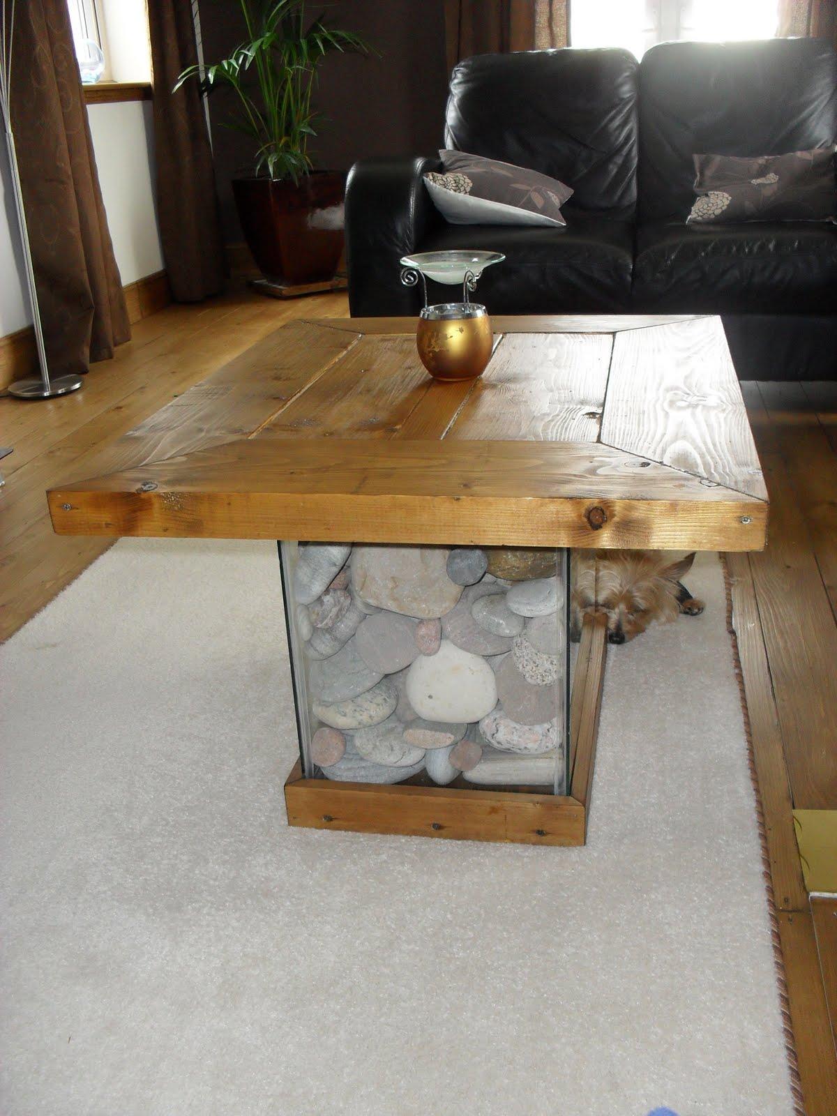 Aquarium Fish Tank Coffee Table Made of Wood
