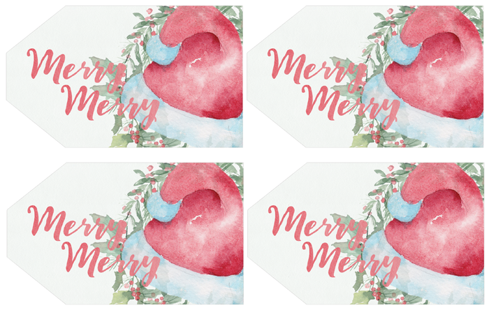 Free Printable Watercolor Santa Hat Gift Tags