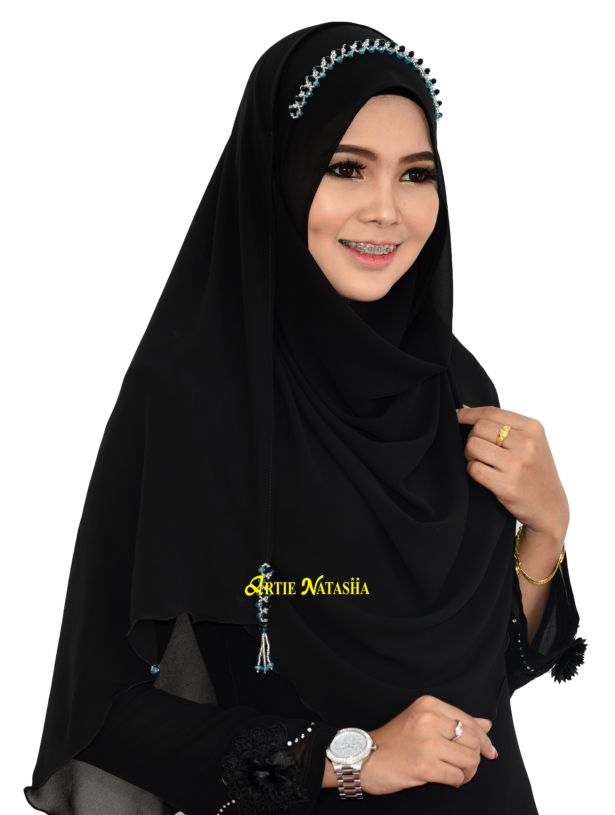 Instant Shawl Natasha Puteri Chiffon Mistik Black