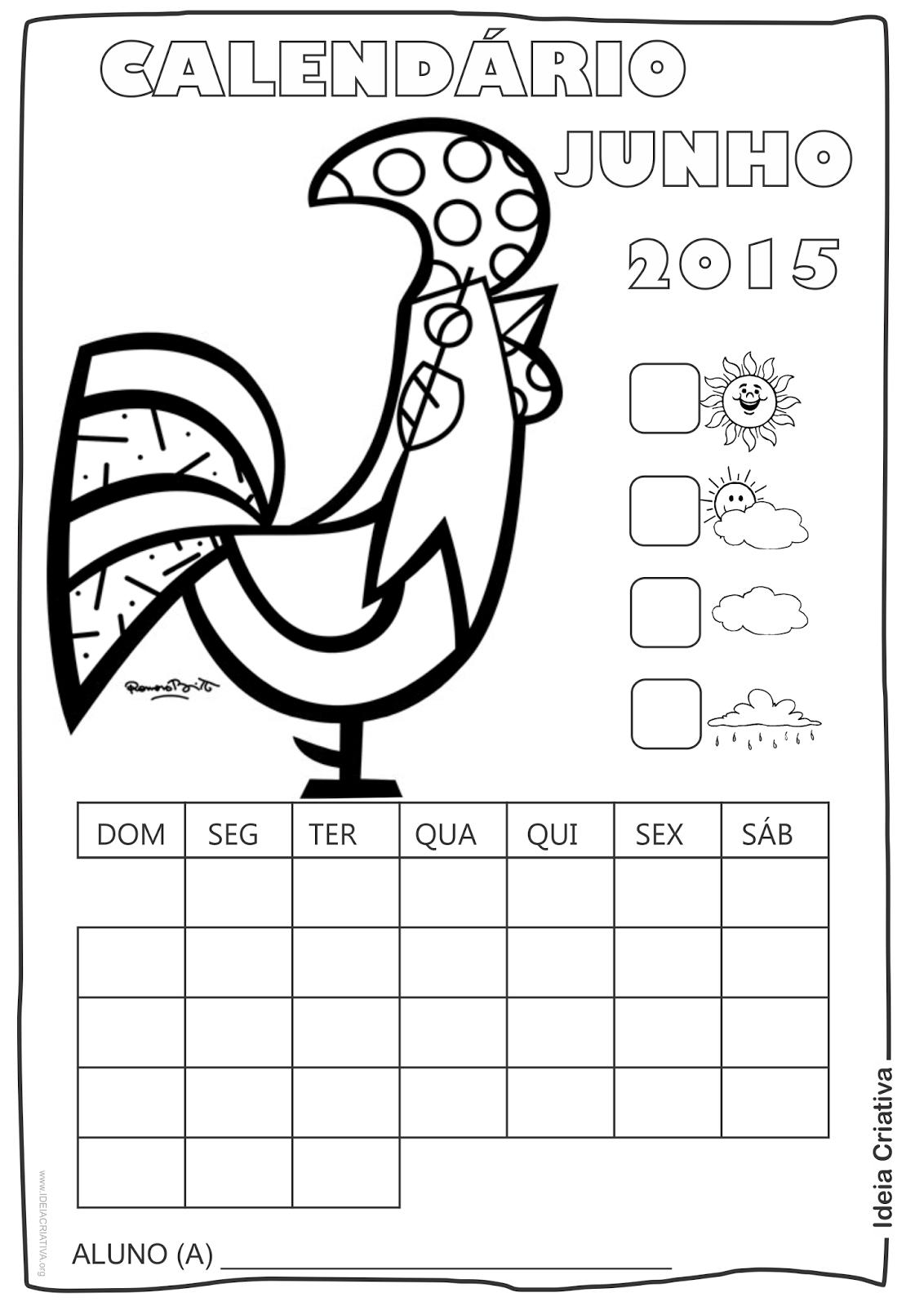 Calendário  Maio 2015 com Desenho Galo de Romero Britto para Colorir Sem Numeração