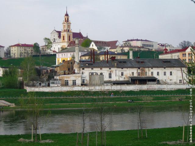 гродно, неман, панорама города гродно, пивзавод, старый пивной завод в центре города