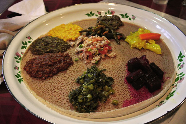 Veggie combination platter at Mesob Ethiopian Restaurant located in Nashville Tennessee