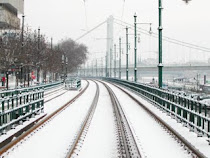 Snow covered tram tracks in Budapest