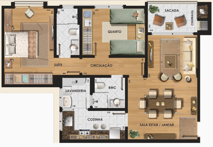 Top Plantas de apartamentos com 2 quartos BK92