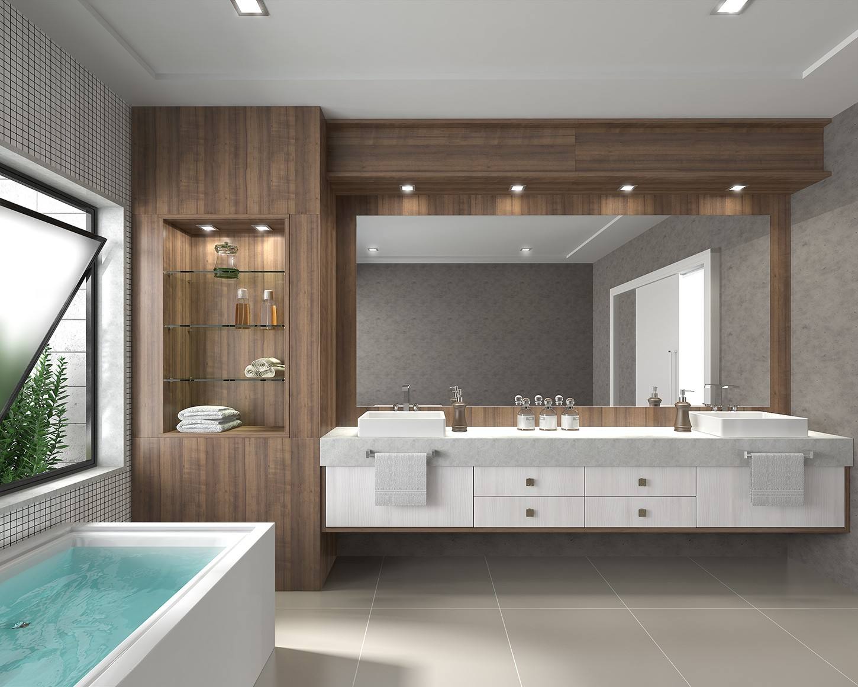 #4B807E CRIART Ambientes: Banheiros 1450x1160 px Banheiro Grande Ou Pequeno 3097
