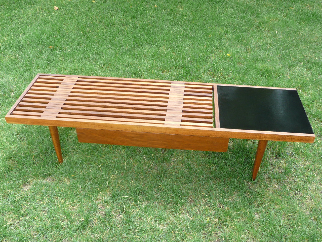 Modern mid century danish vintage furniture shop used ive never seen one really a mid century slat coffee table geotapseo Gallery