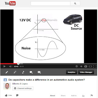 Image of screenshot of YouTube's web page where Alberto A Lopez hosts his video explaining and testing capacitors