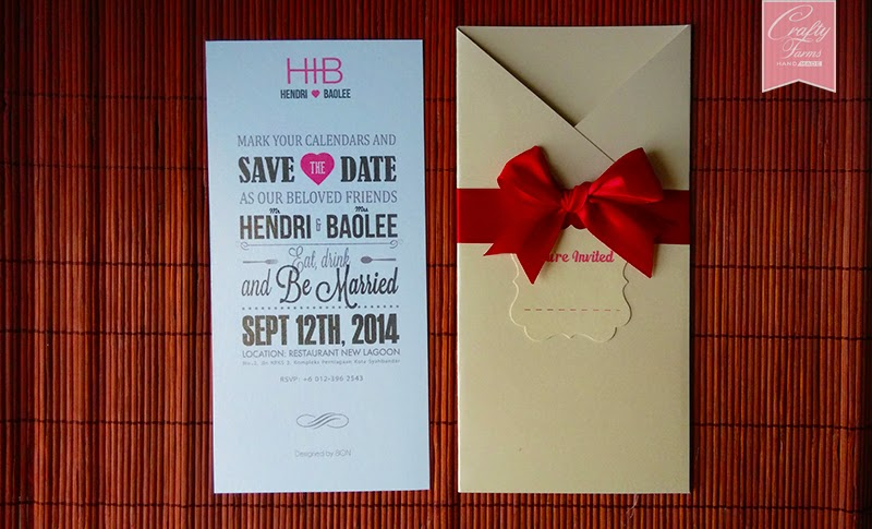 Typography Pocket Wedding Card with Classy Red Ribbon