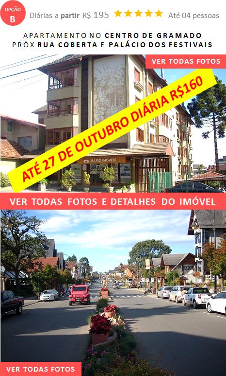 Apartamento Temporada no centro de Gramado Rua Coberta