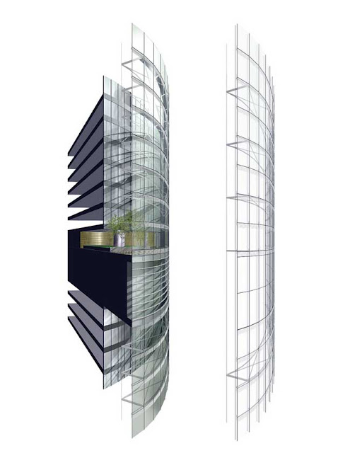 Rendering of inner and outer layer of facade at Shanghai Tower